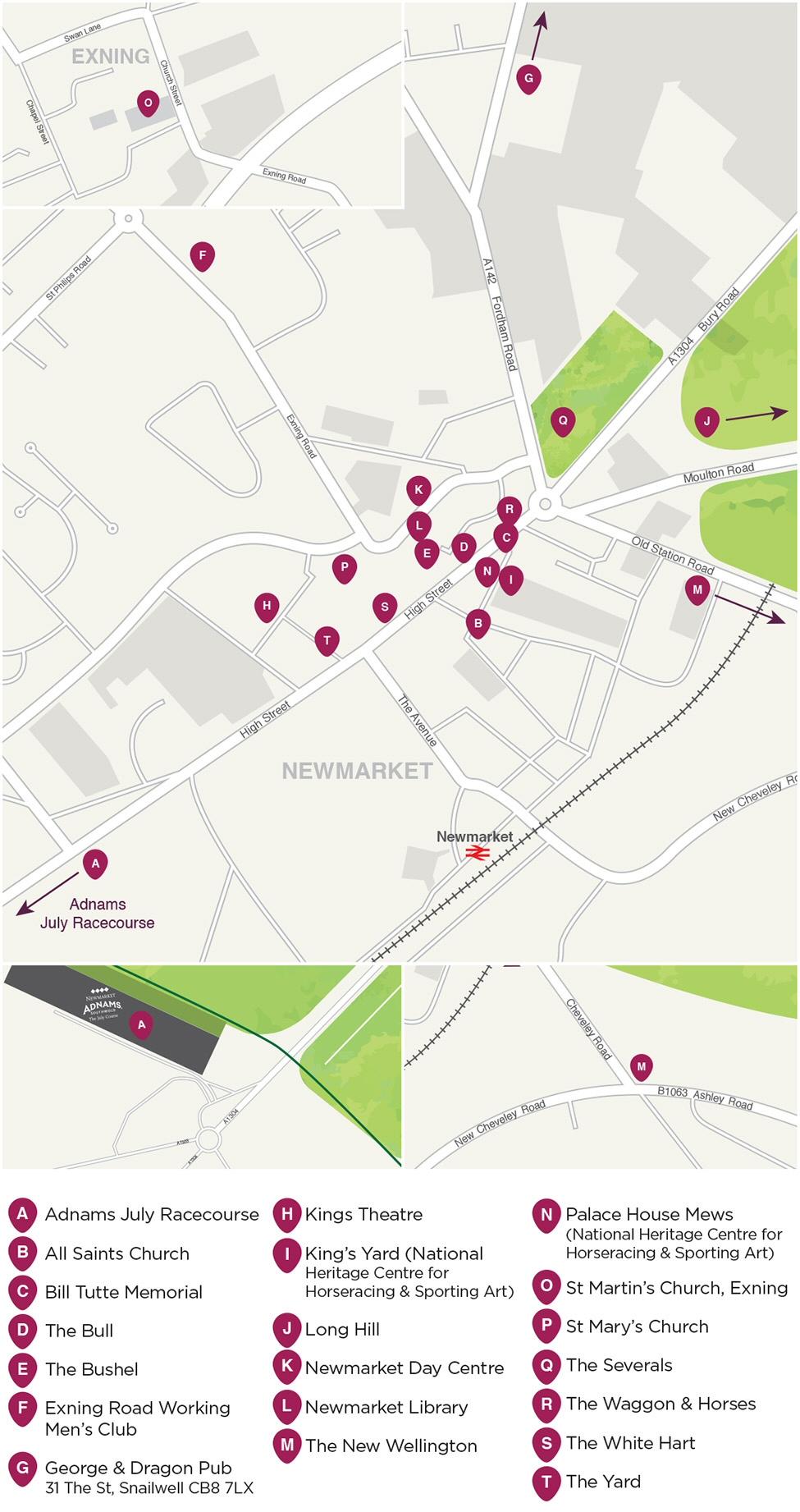 Newmarket Music Festival Venues Map 2017